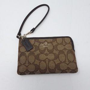 COACH Wristlet Clutch purse Wallet Canvas Leather